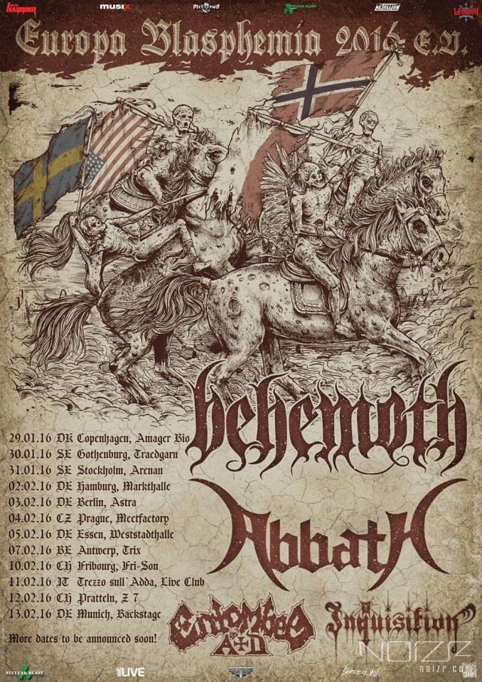 Abbath, Behemoth, Inquisition и Entombed A.D. отправятся в европейский тур в 2016 году