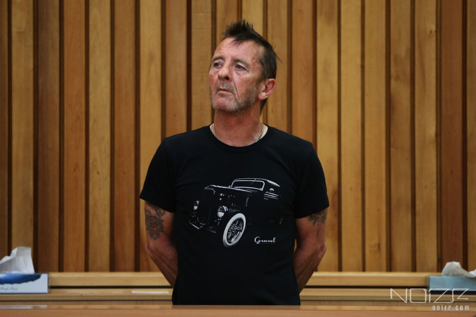 Phil Rudd in the Tauranga District Court in New Zealand — AC/DC's drummer pleaded guilty to threatening to kill