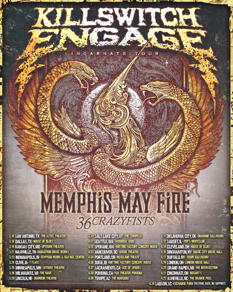 Killswitch Engage tour dates USA